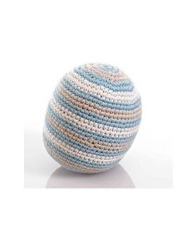 Stripey crochet rattle ball- organic- duck egg blue 200-016DEB