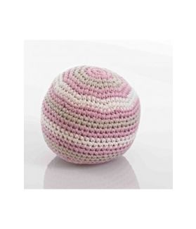 Stripey crochet rattle ball- organic- dusky pink 200-016DP