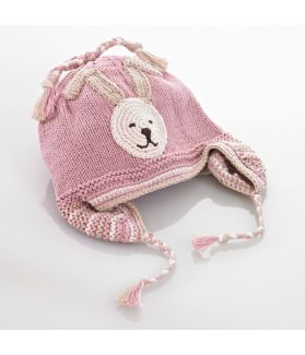Organic motif hat with earflaps - bunny - pink 100-046OMP 0-6M, 6-12M, 1-2Y, 3-5Y
