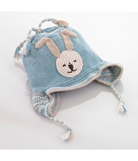 Organic motif hat with earflaps - bunny - blue 100-046OMB 0-6M, 6-12M, 1-2Y, 3-5Y