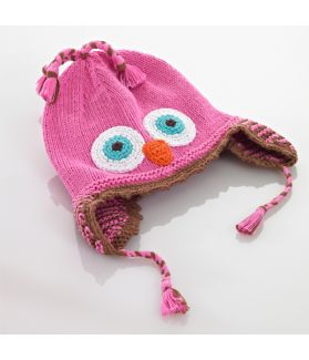 Motif hat with earflaps - owl - pink 100-046MOWLP 0-6M, 6-12M, 1-2Y, 3-5Y