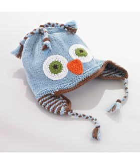 Motif hat with earflaps - owl - blue 100-046MOWLB 0-6M, 6-12M, 1-2Y, 3-5Y