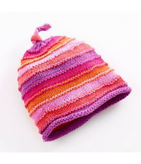 Stripey Hat - pink stripey 100-046PS 0-6m, 6-12m, 1-2Y