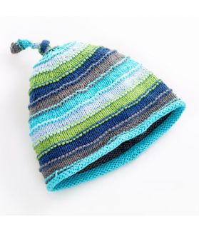 Stripey Hat - blue stripey 100-046BS 0-6m, 6-12m, 1-2Y