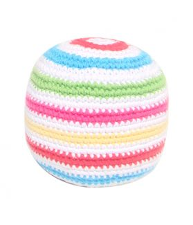 Stripey crochet rattle ball - white multi 200-016WM
