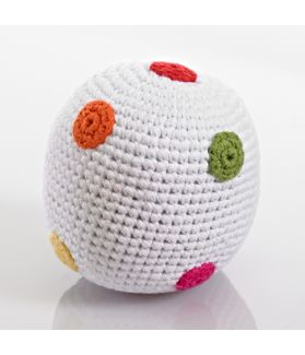 White rattle ball - flower / spotty 200-016WF / 200-016WS