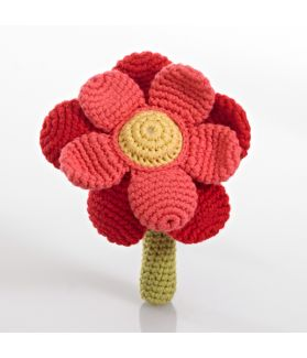 Flower rattle - double - red 200-051DR