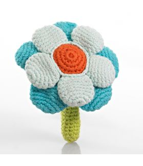 Flower rattle - double - turquoise 200-051DT