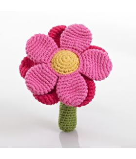 Flower rattle - double - pink 200-051DP