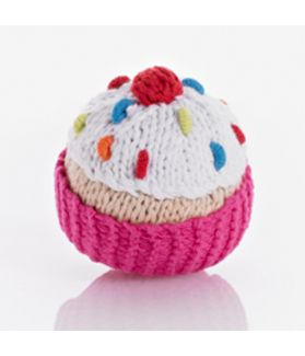 Cupcake rattle - hot pink with white icing and cherry 200-013AR