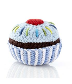 Cupcake rattle - turq with white icing and cherry 200-013BR